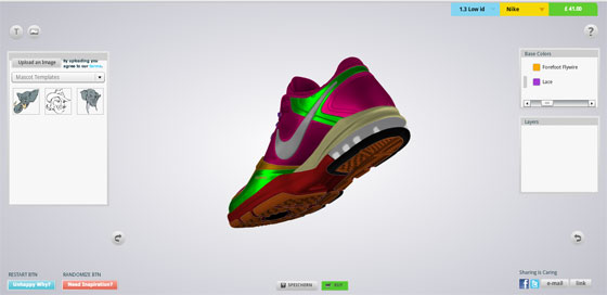 Custom shoe design software online footwear personalizing for Program design tools