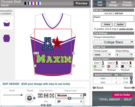 Online sportswear design software tool to customizing game for Online software design tool