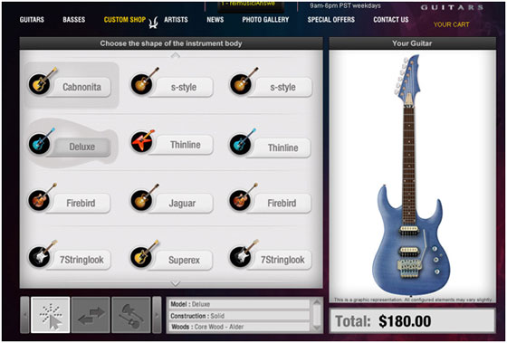 Customized music instrument design software guitar skin for Online remodeling software