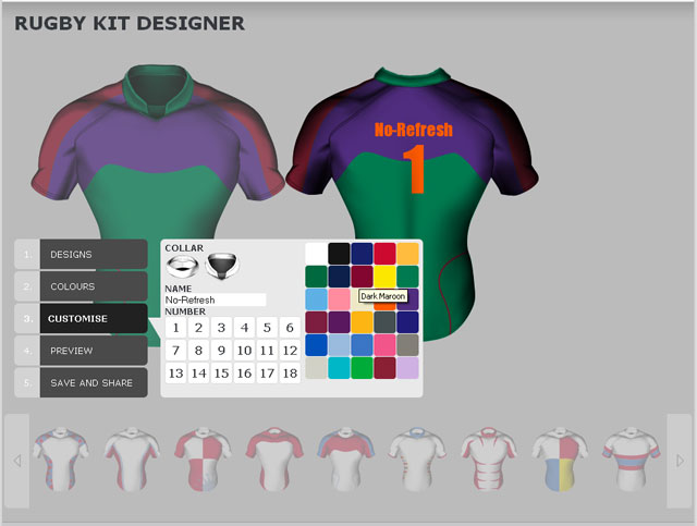 Online sportswear design software customizing game Online clothing design software