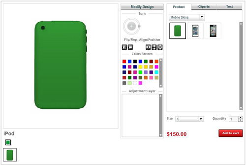 Custom online iPod skin/case/cover design tool