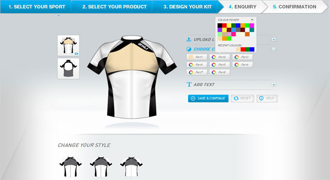 Custom Online Sportswear Design Tool for Customize Sportswears