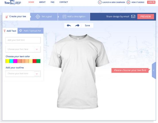 Custom Online T-shirts Design Tool Step First