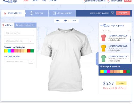 Custom Online T-shirts Design Tool Step Second