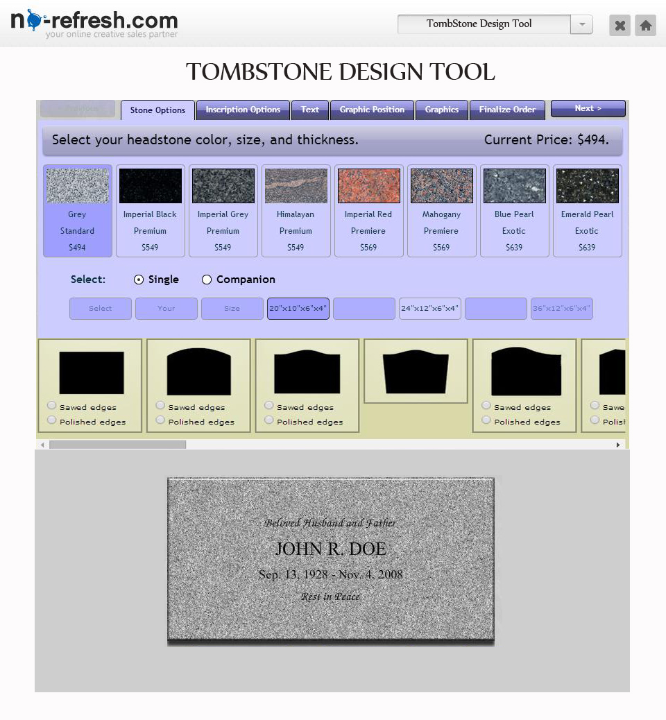 Gravestone / Tombstone Design Tool To Create Memorial Grave Markers