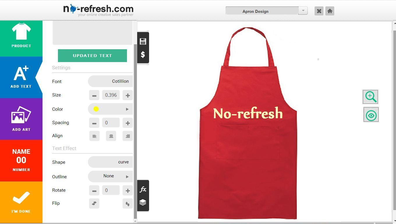 Apron Design Tool/Software To Create Custom/Personalize Aprons Online