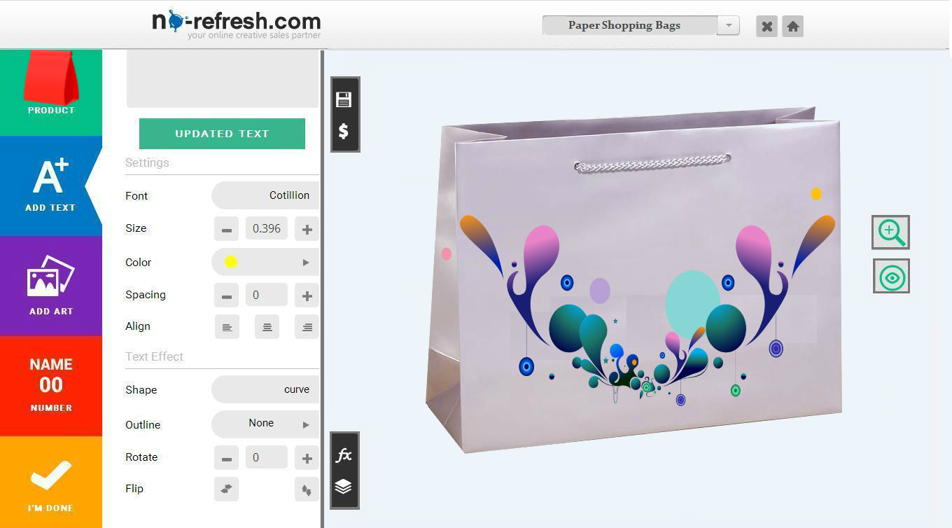 Custom paper shopping bags design software to design bags for Online designs
