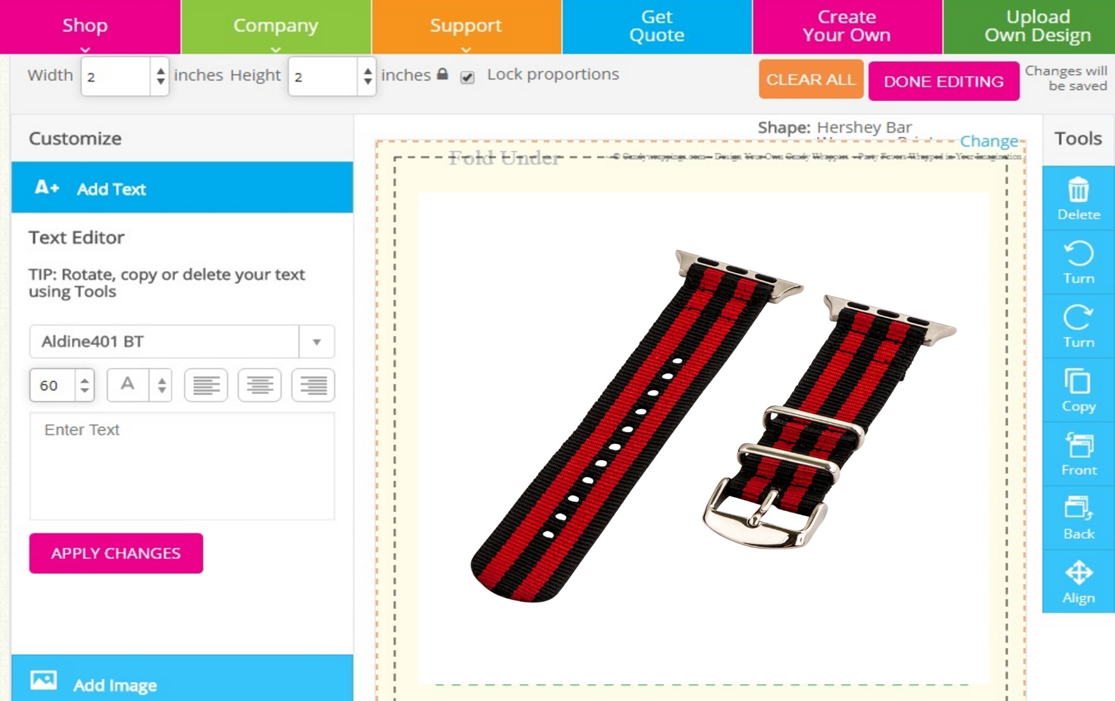 custom online Watch Strap Design Software